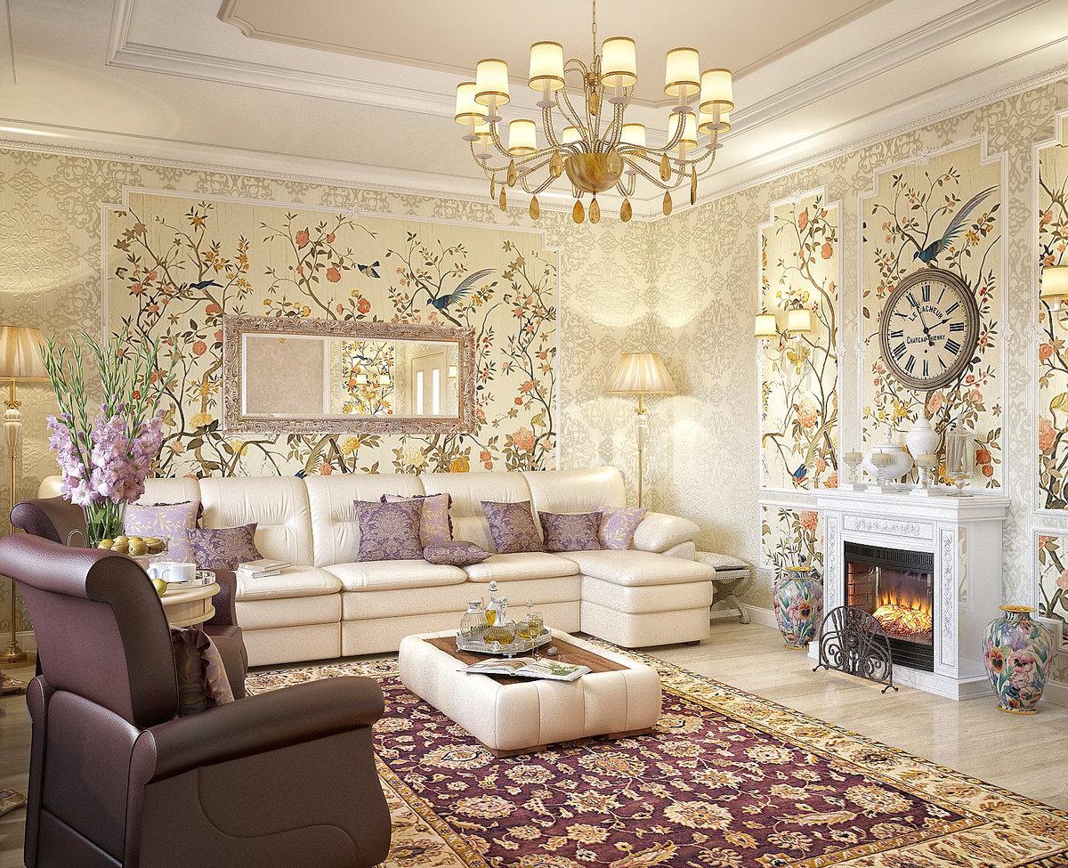 Сочетание цветов в интерьере гостиной в стиле Прованс